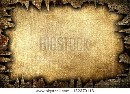 old paper with crack wood background