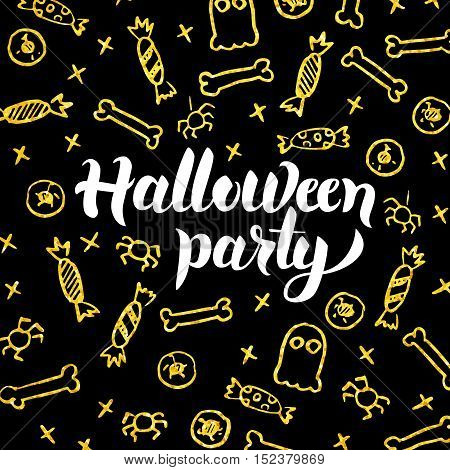 Halloween Party Gold Black Postcard. Vector Illustration of Seasonal Holiday Calligraphy with Golden Decoration.
