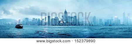 Night view of Hong Kong Victoria Harbor