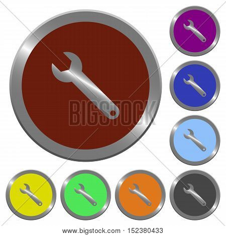 Set of color glossy coin-like wrench buttons