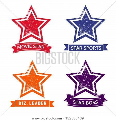 Set of star icons. Logo template. Freehand drawn style. Scratched textured sign symbol isolated on white. Design idea for movie sport award emblem rewarding symbol. Vector illustration