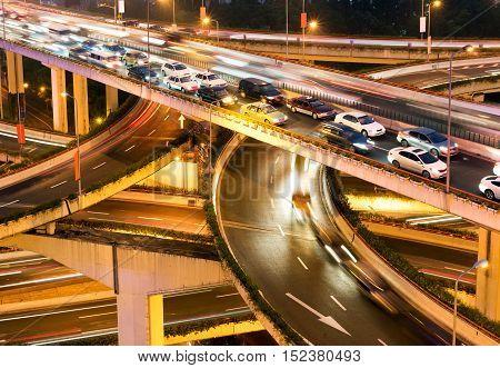 Aerial view of Shanghai viaduct night severe traffic congestion.