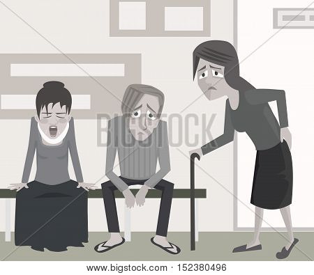 people waiting at the doctor's office - vector cartoon illustration