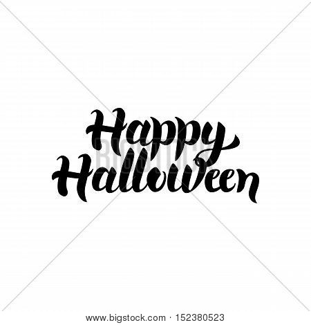 Happy Halloween Lettering. Vector Illustration of Ink Brush Cursive Calligraphy Isolated over White Background. Calligraphy Card.