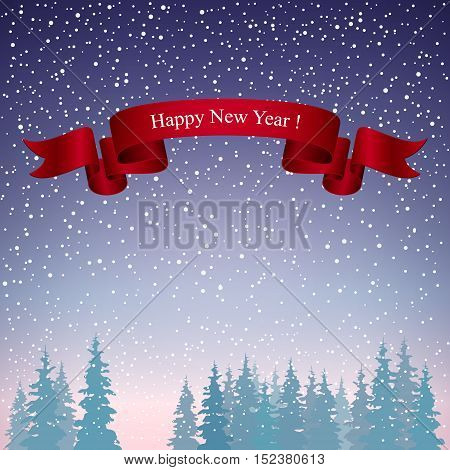 Snowfall in the Forest, Happy New Year Landscape in Purple Shades, Winter Background, Vector Illustration
