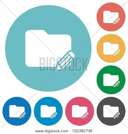 Flat edit folder icon set on round color background.