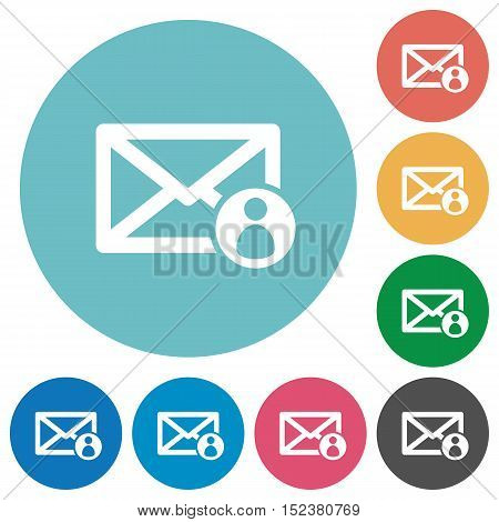 Flat mail sender icon set on round color background.