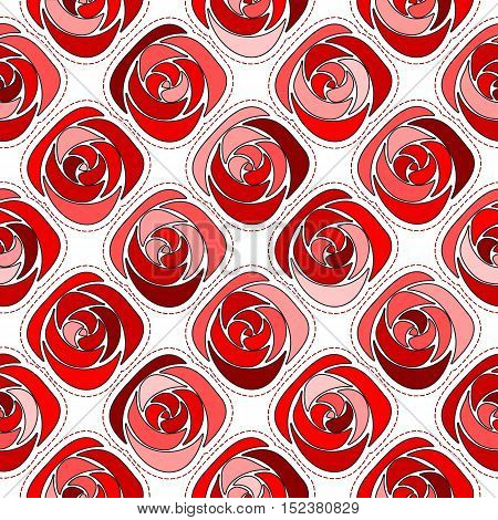 Seamless background, red roses circled dashed line. Vector illustration.