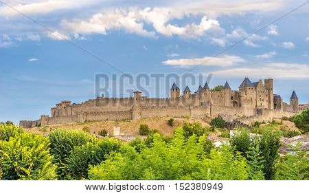 View at the Carcassonne City Wall in France