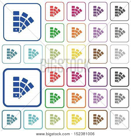 Set of color swatch flat rounded square framed color icons on white background. Thin and thick versions included.
