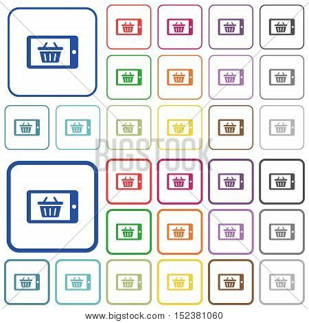 Set of mobile shopping flat rounded square framed color icons on white background. Thin and thick versions included.