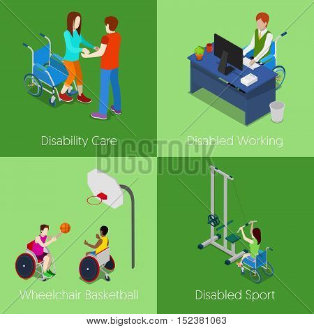 Isometric Disabled People. Disability Care, Disabled Working, Wheelchair Basketball, Disabled Sport. Vector 3d flat illustration