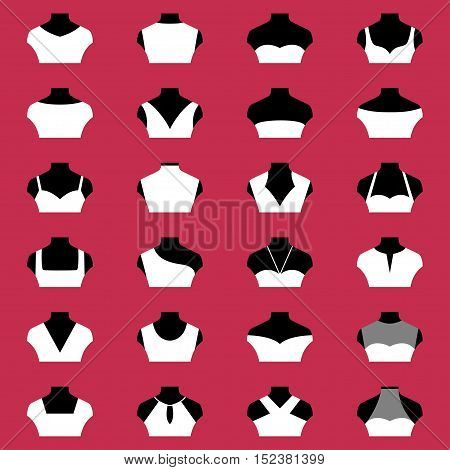 Types of necklines of woman clohing, vector illustration