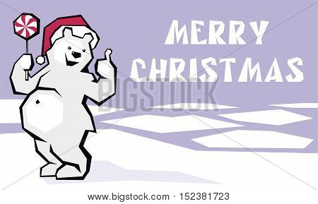 Greeting card merry Christmas with the image of funny polar bear