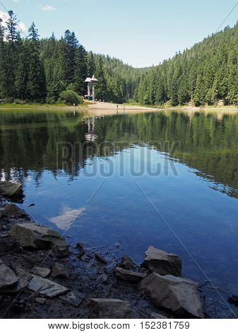 Mountain lake Synevyr in the Ukrainian Carpathians, the National park of the same name