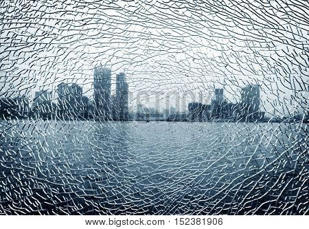 Look through the urban landscape of broken glass