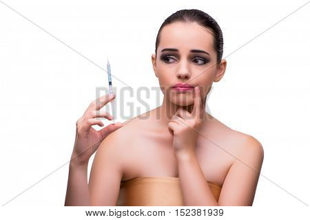 Woman scared of plastic surgery isolated on white