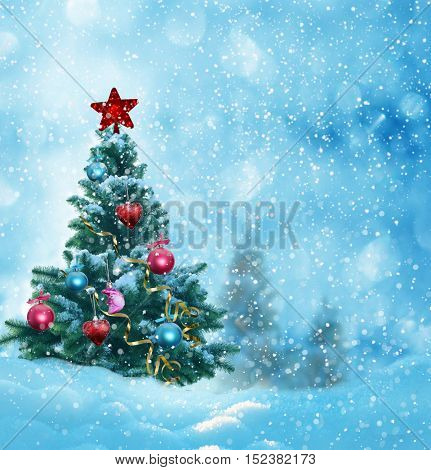Merry christmas and happy new year greeting card with copy-space.Winter christmas landscape.Winter background with snow and spruce