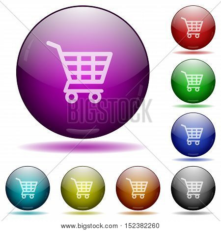 Set of color shopping cart glass sphere buttons with shadows.