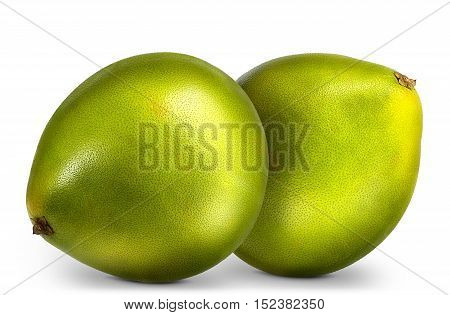 Group of green pomelo citrus fruit isolated on white background.