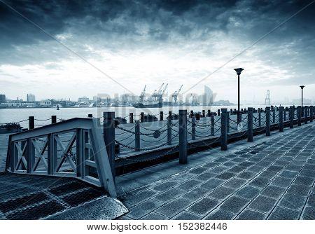Clouds under the Huangpu River China Shanghai urban landscape.