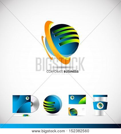 Corporate business 3d sphere vector logo icon sign design template corporate identity