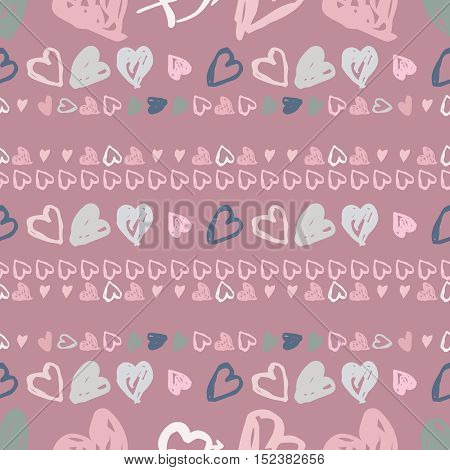 Hand drawn heart vector background. Seamless pink valentines day pattern.