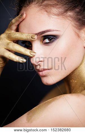 Young Beautiful Woman. Profile. Cute Face Closeup