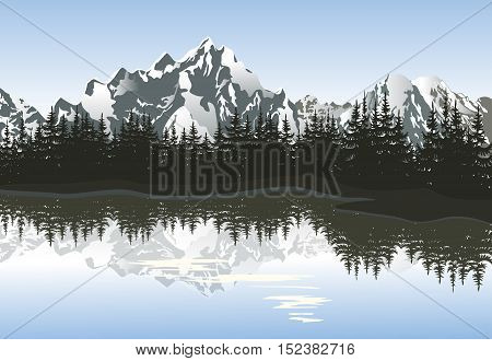 Mountain landscape with lake and peaks. Vector illustration.
