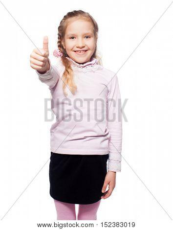 Girl isolated on white. Child showing thumb up. Ok