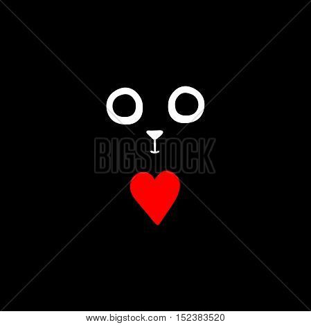 Black background. The cat's eyes and nose. Red heart. Isolated vector object on black background.