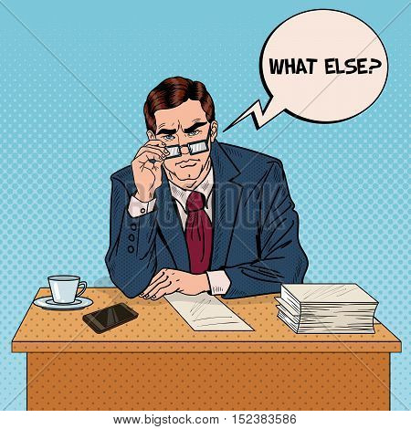 Pop Art Serious Businessman with Eyeglasses at Multitasking Office Work. Vector illustration