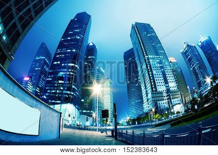 High-rises in Shanghai's new Pudong banking and business district across the Huangpu river from the old city.