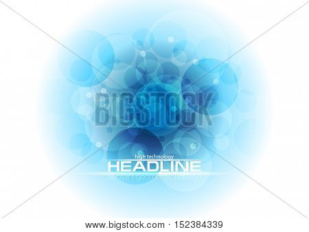 Bright blue tech geometric background with circles. Abstract vector futuristic design