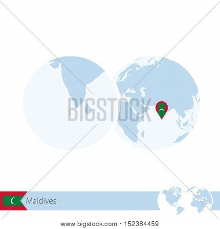 Maldives On World Globe With Flag And Regional Map Of Maldives.