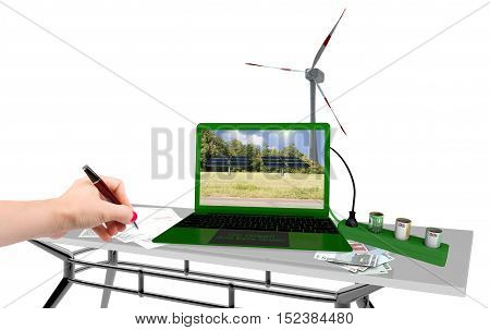 Renewable energy office contract white background isolated