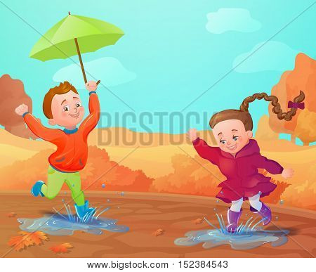 Autumn background with funny smiling kids. Seasonal sale poster, concept, flyer. Cartoon landscape banner. Brochure template.Vector illustration