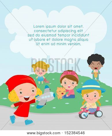happy kids with toys at playground, Template for advertising brochure,your text, kids time, Children playing in the playground, child with toys at playground