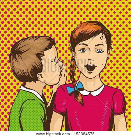 Pop art retro comic vector illustration. Kid whispering gossip or secret to his friend. Children talk to each other.