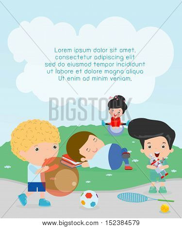 happy kids with toys at playground, Template for advertising brochure,your text, kids time, Children playing in the playground, child with toys at playground,