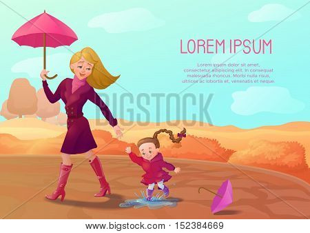 Autumn background with smiling mother and daughter walking at the park. Seasonal sale poster, concept, flyer. Banner with cartoon characters. Brochure template.Vector illustration
