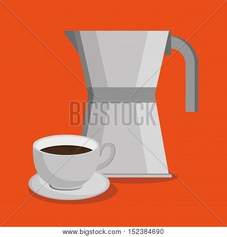 Coffee cup and kettle icon. Coffee shop drink beverage and restaurant theme. Vector illustration