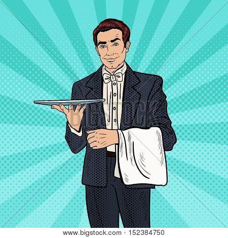 Pop Art Professional Waiter Man Holding Empty Tray. Vector illustration