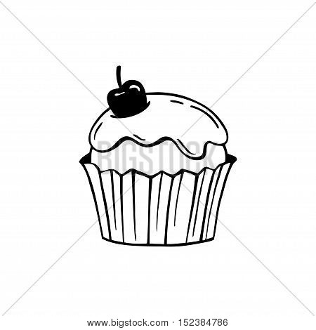 Cupcake with frosting and cherry. Black and white vector illustration. Suitable for making stamps prints laser engraving.