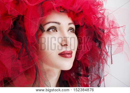 Portrait of beautiful woman with red lips. Fashion photo