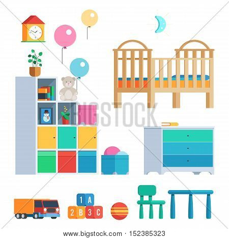 Baby room set with furniture and toys, balloons, clock and lamp. Vector illustration in trendy design isolated on white background for publications and promotional materials