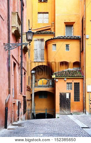 Old street in Bologna, Italy