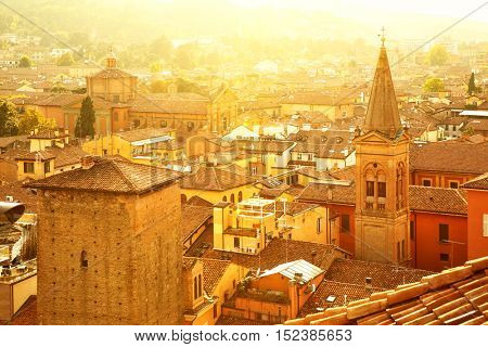 Panoramic view of Bologna in sunlight, Italy