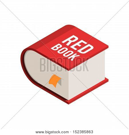Big red book with a yellow bookmark. The concept of isometric icon. Vector illustration on white background for web design for website or print