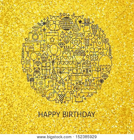 Line Happy Birthday Gold Concept. Vector Illustration of Celebration Objects. Party Items over Golden Glitter.